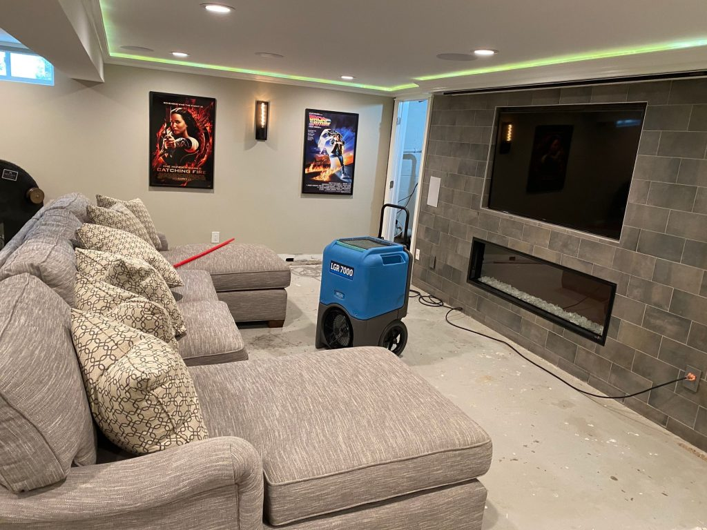 Flooded basement requiring removal of carpet and mold remediation